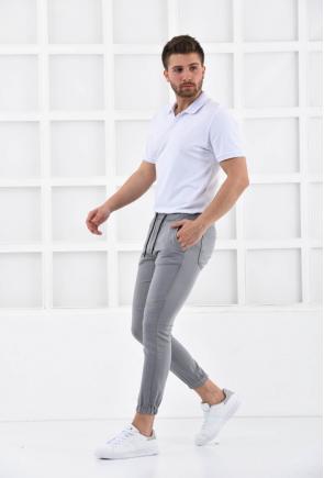 Gri Erkek Süper Skiny Bel ve Paça Lastikli Jogger Pantolon F321574