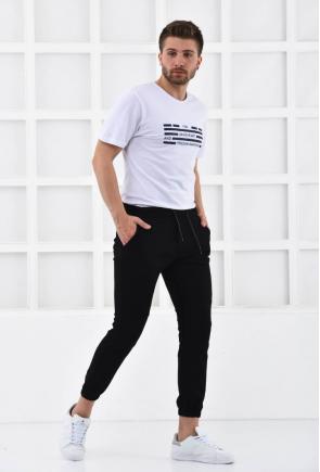 Siyah Erkek Süper Skiny Bel ve Paça Lastikli Jogger Pantolon F321574