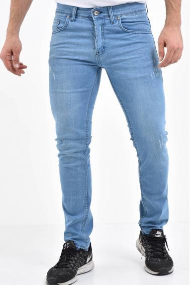 Erkek Buz Mavisi Kot Super Skinny Hafif Tırnak Taşlama Jean Pantolon TK580