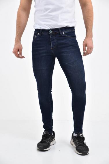 Erkek Lacivert Kot Süper Skiny Yıkamalı Likralı Jean Pantolon LB501