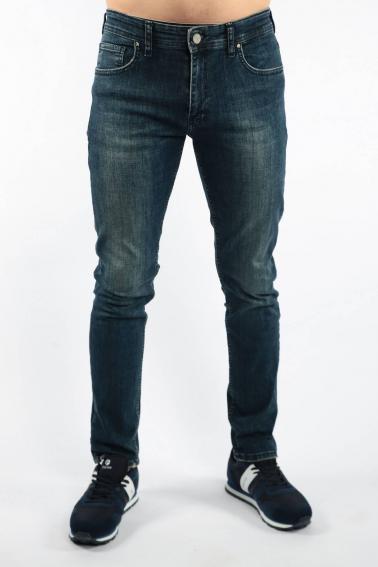 Erkek Navy Michael Jean Slim Fit Dar Kesim Yıkamalı Kot Pantolon F181001