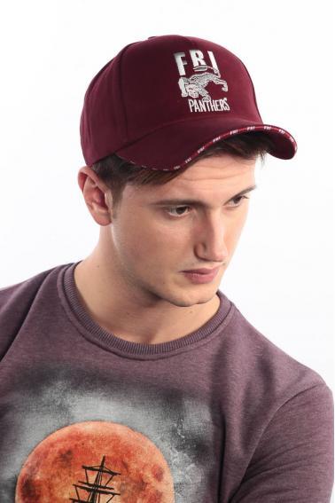 Erkek Bordo FBI Nakışlı Şapka Ş8317