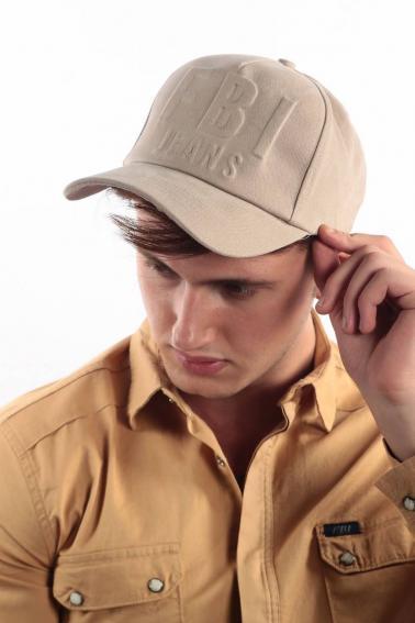 Erkek Bej FBI Kabartma Baskılı Şapka Ş8316