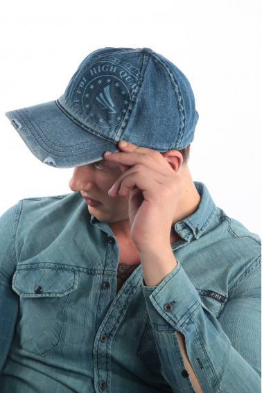 Erkek Denim Navy FBI Baskılı Kot Şapka Ş8312