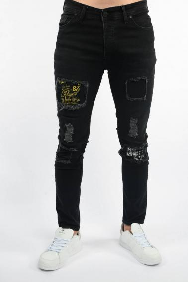 Erkek Siyah Berk Jean Slim Fit Dar Kesim Yıpratmalı Kot Pantolon F81006