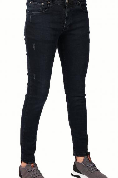 Erkek Koyu Lacivert Kot Blood Super Skinny Hafif Tırnak Taşlama Jean Pantolon 7465
