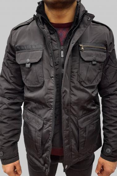 Erkek Siyah Su Ve Soğuk Geçirmez Çift Ön Kapama Elyaf Mont 6024