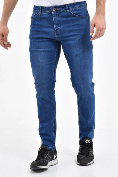 Erkek Mavi Kot Slim Modern Kesim Yıkamalı Likralı Jean Pantolon L792