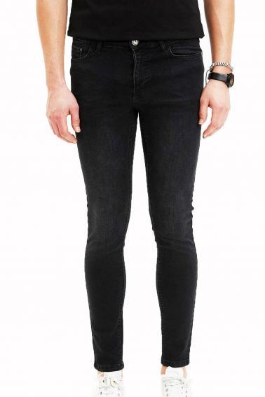 Erkek Siyah Kot Blood Super Skinny Düz Jean Pantolon 7465