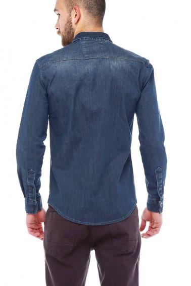 Erkek Lacivert Mont İşlevli Çıtçıtlı Cepli Kot Gömlek 5200-01