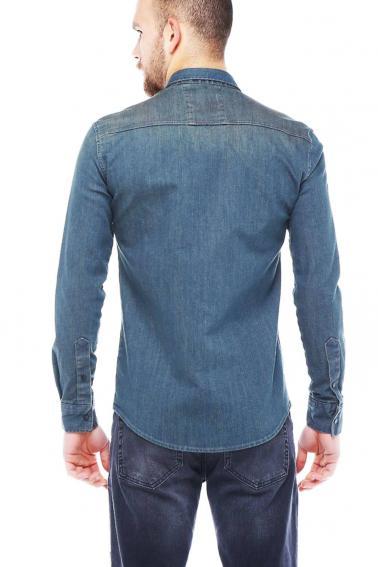Erkek Mavi Mont İşlevli Çıtçıtlı Cepli Kot Gömlek 5200-02