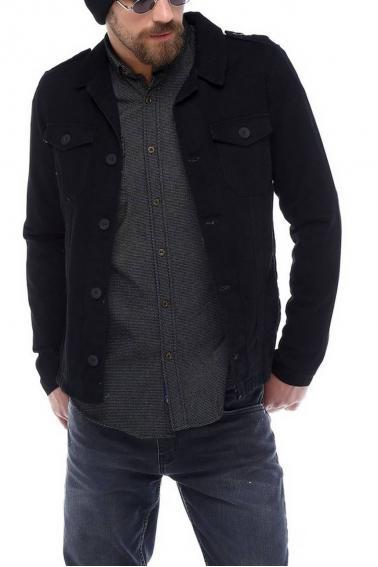 Erkek Lacivert Nakışlı Slim Fit Düğmeli Yaka Gömlek 5201-02
