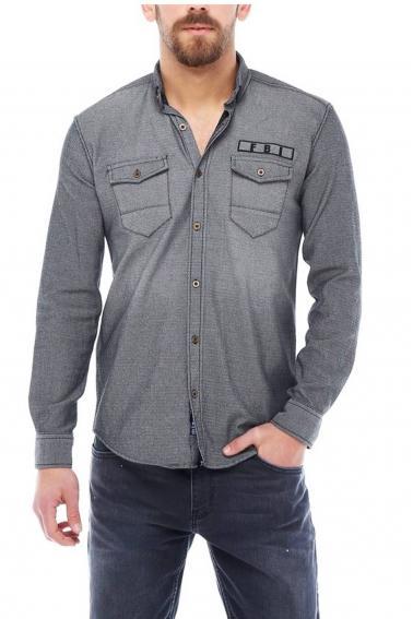Erkek Gri Nakışlı Slim Fit Düğmeli Yaka Gömlek 5201-03