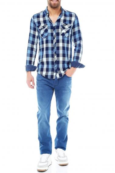 Erkek Mavi Ekoseli Slim Fit Cepli Metal Düğmeli Yaka Gömlek 5202-6