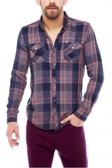 Erkek Bordo Ekoseli Slim Fit Cepli Metal Düğmeli Yaka Gömlek 5202-14