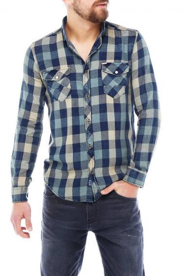 Erkek A.Kahve Ekoseli Slim Fit Cepli Metal Düğmeli Yaka Gömlek 5202-121