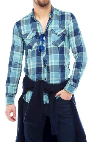 Erkek A.Yeşil Ekoseli Slim Fit Cepli Metal Düğmeli Yaka Gömlek 5202-11