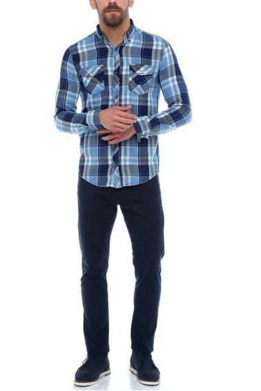 Erkek İndigo Ekoseli Slim Fit Cepli Metal Düğmeli Yaka Gömlek 5202-29