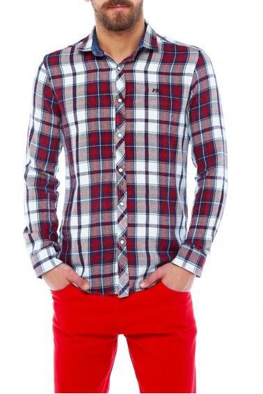 Erkek Bordo Ekoseli Slim Fit Nakışlı ÇıtÇıt Sedef Düğmeli Gömlek 5203