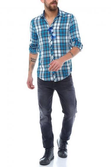 Erkek Mavi Ekoseli Slim Fit Nakışlı ÇıtÇıt Sedef Düğmeli Gömlek 5203