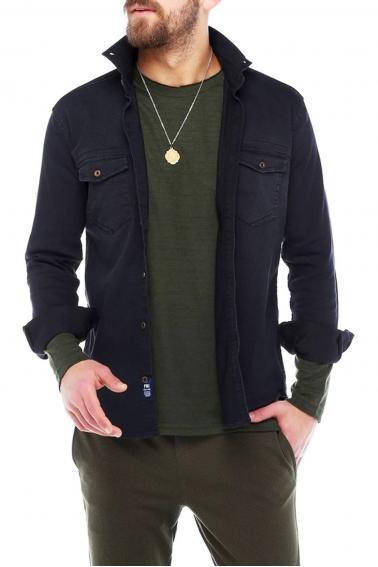 Erkek Siyah Mont İşlevli Metal Düğmeli Cepli Kot Gömlek 5204