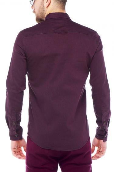 Erkek Bordo Mont İşlevli Metal Düğmeli Cepli Kot Gömlek 5204