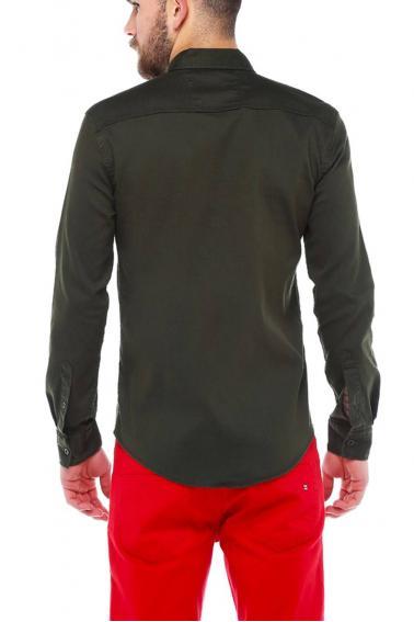 Erkek Haki Mont İşlevli Metal Düğmeli Cepli Kot Gömlek 5204