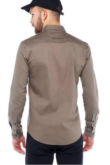 Erkek Bej Mont İşlevli Metal Düğmeli Cepli Kot Gömlek 5204