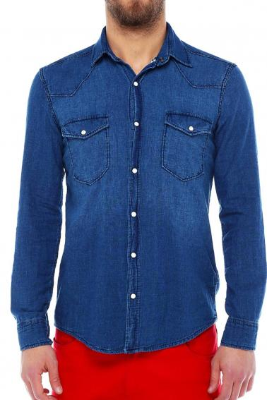 Erkek Mavi Katlamalı Kol Sedef Düğmeli Cepli Kot Slim Gömlek 5205