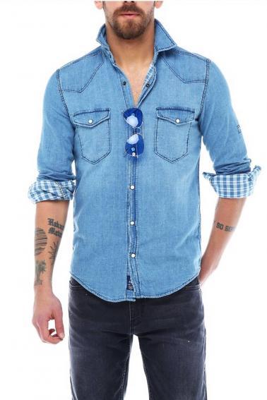 Erkek A.Mavi Katlamalı Kol Sedef Düğmeli Cepli Kot Slim Gömlek 5205