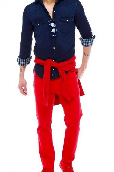 Erkek Lacivert Katlamalı Kol Sedef Düğmeli Cepli Kot Slim Gömlek 5205