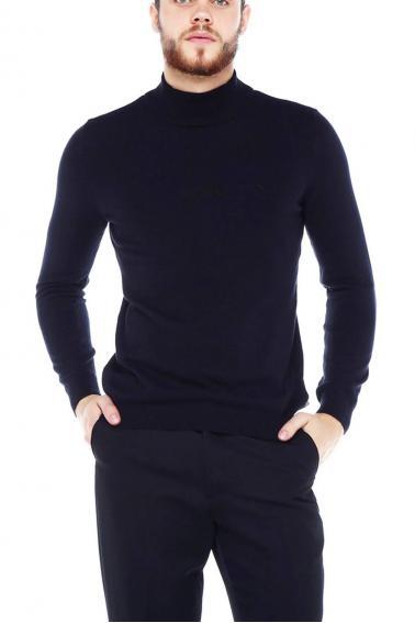 Erkek SİYAH Slim Fit Basıc Dik Yaka Triko Kazak 93022