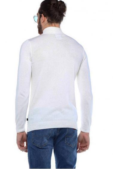 Erkek Beyaz Slim Fit Basıc Dik Yaka Triko Kazak 93022