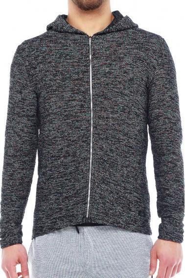 Erkek SİYAH Slim Fit  Kapüşonlu Fermuarlı Sweatshirt Hırka