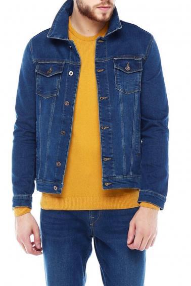 Erkek Dark Blue Slim Fit Likralı Düğmeli Kot Ceket 94006