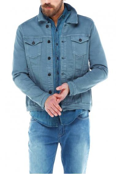 Erkek Petrol Slim Fit Düğmeli Kot Ceket 94007