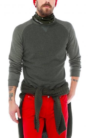 Erkek Haki Normal Kesim Bisiklet Yaka Sweatshirt