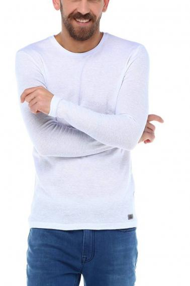 Erkek Beyaz Slim Fit  Bisiklet Yaka Penye Uzun Kol T-Shirt