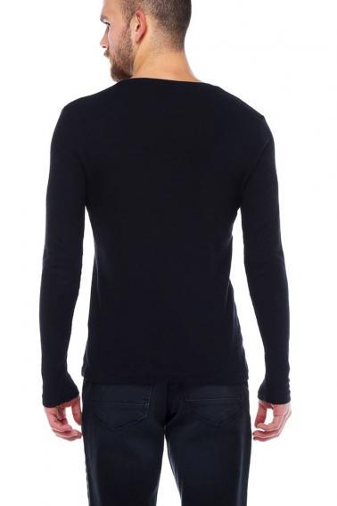 Erkek Siyah Slim Fit  V Yaka Penye Uzun Kol T-Shirt