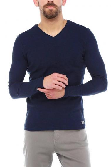 Erkek Lacivert Slim Fit  V Yaka Penye Uzun Kol T-Shirt