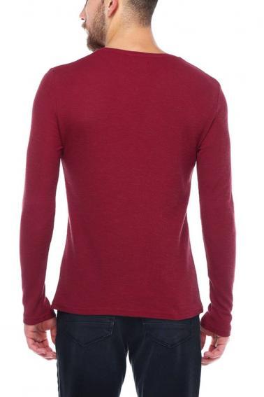 Erkek Bordo Slim Fit  V Yaka Penye Uzun Kol T-Shirt