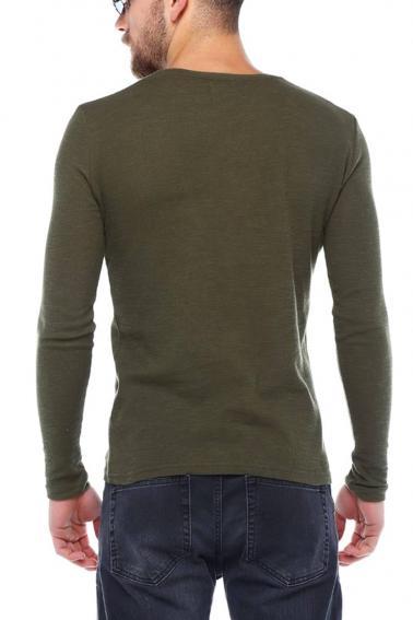 Erkek HAKİ Slim Fit  V Yaka Penye Uzun Kol T-Shirt
