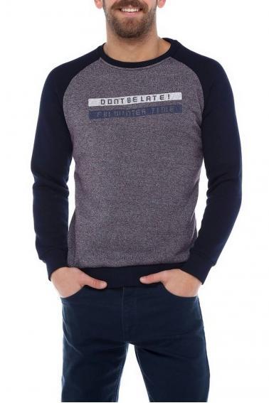 Erkek Lacivert Slim Fit Bisiklet Yaka Reglan Kol Baskılı Sweatshirt 95023
