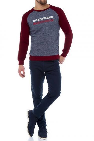 Erkek Kırmızı Slim Fit  Bisiklet Yaka Reglan Kol Baskılı Sweatshirt 95023