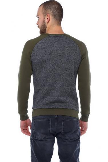 Erkek Haki Slim Fit  Bisiklet Yaka Reglan Kol Baskılı Sweatshirt 95023