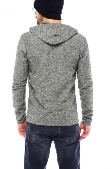 Erkek HAKİ Slim Fit  Kapüşonlu Fermuarlı Sweatshirt Hırka