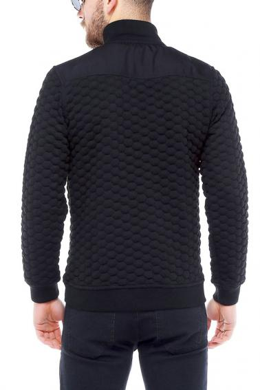 Erkek Siyah Slim Fit  Petek Dokulu  Fermuarlı Hırka 95034