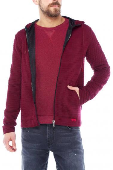 Erkek Bordo Slim Fit Örme Fermuarlı Kapüşonlu Sweatshirt 95037