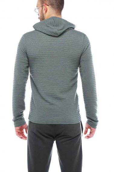 Erkek Haki Slim Fit Örme Fermuarlı Kapüşonlu Sweatshirt 95037