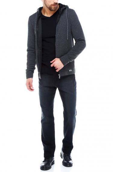 Erkek Antrasit Slim Fit Örme Fermuarlı Kapüşonlu Sweatshirt 95037